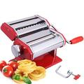 Homdox Upgrate Manual Pasta Machine w/ 9 Adjustable Thickness Settings Stainless Steel in Gray/Red, Size 6.1 H x 8.2 W x 7.7 D in   Wayfair