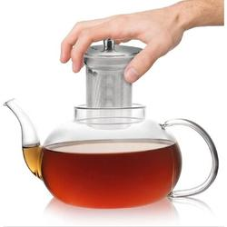 Old Hong Trading Glass Teapot w/ Removable Stainless Steel Infuser, Glass Tea Pot Set w/ 6 Double Wall Cups, Tea Kettle For Blooming in Black/Gray