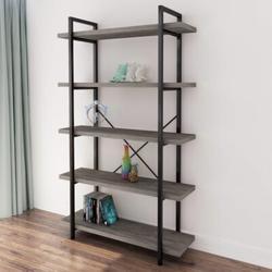 HOU 5-Tier Vintage Industrial Style Bookcase/Metal & Wood Bookshelf Furniture For Collection, Gray Oak,3/4/5 Tier (5-Tier) in Black/Gray   Wayfair