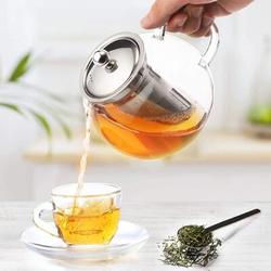 Old Hong Trading Glass Teapot Stovetop & Microwave Safe w/ Removable Stainless Steel Infuser in Black/Gray, Size 5.5 H in   Wayfair