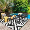 Ebern Designs 4pcs Patio Conversation Furniture Set Yard Garden Outdoor W/Coffee Table Metal in Black/Brown, Size 32.0 H x 24.0 W x 26.0 D in