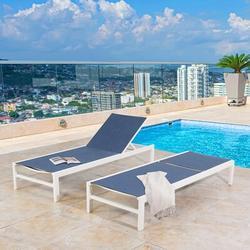 Latitude Run® 2 Pieces Outdoor Aluminum Chaise Lounge Chairs Patio Sling Sun Lounger Set w/ Wheels Metal in Green/White | Wayfair