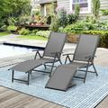 Arlmont & Co. Adjustable Aluminum patio Chaise Lounge Chair, 8 Positions, Folding Outdoor Recliners, All Weather For Beach, Pool & Yard, 2pcs