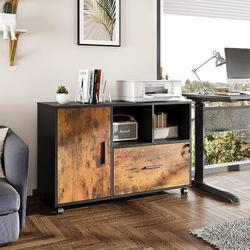 17 Stories Office File Cabinet w/ 1 Drawer, Wood Lateral Filing Cabinet For Letter/Legal/A4 Size Files, Printer Stand w/ Storage Cabinet | Wayfair