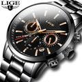 LIGE – montre à Quartz pour homme, marque de luxe, style militaire, sport, étanche, noire