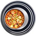 tarye 4 Pcs Non-Stick Pizza Baking Pan 6-Inch,8-Inch,9-Inch,10-Inch Diameter Pizza Tray,Round Pizza Bakeware For Home Kitchen Oven Baking in Black