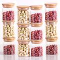 Latitude Run® 12 Set Glass Food Canisters, 8 Oz Glass Jars w/ Bamboo Lids For Home Kitchen, Tea, Herbs, Sugar, Salt, Coffee, Weed, Flour, Candy