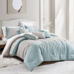 George Oliver 7 Piece Brushed Microfiber Style Luxurious Bedding Set Polyester/Polyfill/Microfiber in Blue | Wayfair