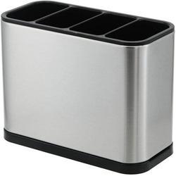 Rebrilliant Kitchen Utensil Holder For Countertop Flatware Organizer Utensil Crock Holder Caddy Anti Slip Drip Tray Stainless Steel | Wayfair in Gray
