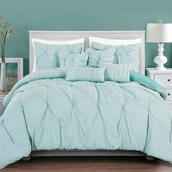 Mercer41 7 Piece Pinch Pleat Style Luxurious Bedding Set Polyester/Polyfill/Microfiber in Blue, Size King Comforter + 2 Shams + 4 Throw Pillows