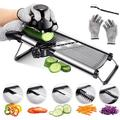 yuzhuoyongchi Mandoline Food Slicer Adjustable Thickness For Cheese Fruits Vegetables Stainless Steel Food Cutter Slicer Dicer w/ Extra Brush