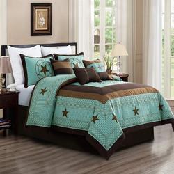 Union Rustic Akeshia Teal Microfiber 7 Piece Comforter Set Microfiber in Blue/Green, Size Queen Comforter | Wayfair