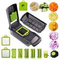 yuzhuoyongchi Vegetable Chopper, 12 In 1 Mandoline Slicer W/Large Container, Fruits Tool Grater, Onion Chopper, Potato Slicer, Carrot Grater in Green