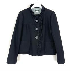 J. Crew Jackets & Coats | J. Crew Black Wool Ruffle Trim Blazer Jacket | Color: Black | Size: 6