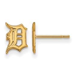 """""""Women's Detroit Tigers 10k Yellow Gold Extra Small Post Earrings"""""""