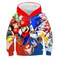 Sweat à capuche imprimé Sonic 3D pour garçon, manteaux, printemps automne, vêtements d'extérieur