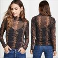 Free People Tops | Free People Amber Black Floral Mesh Long Sleeve | Color: Black | Size: S