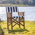 Teak Director's Chair II with Navy & White Stripe Seat Cushions - Prime Teak by Whitecap Teak 61050