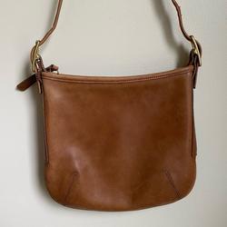 Coach Bags | Coach Vintage Tan Slimline Leather Shoulder Bag | Color: Tan | Size: Os