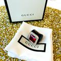 Gucci Jewelry | Gucci Sterling Silver Stone And Crystal Ri | Color: Black/Red/Silver | Size: Os