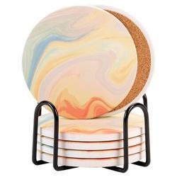 Coasters For Drinks, Round Absorbent Ceramic Coaster w/ Cork Base & Metal Holder, Housewarming Gift, Bar Desk Table Decor Ceramic | Wayfair