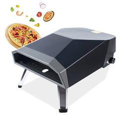 FUNTEN Steel Freestanding Natural Gas Pizza Oven in Black Steel in Black/Gray/White, Size 24.4 H x 15.75 W x 11.81 D in   Wayfair EN0030