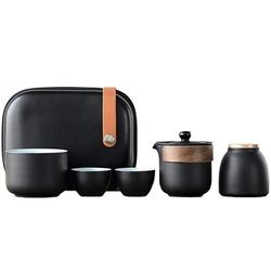 JGZ Chinese Tea Set, Ceramic Tea Cup Set, Wood Handle Tea Pot, w/ Tea Caddy & Portable Bag in Black, Size 3.74 H x 3.14 W x 3.14 D in   Wayfair