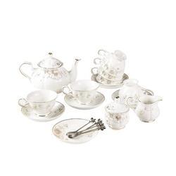 JGZ 21-Piece Porcelain Ceramic Coffee Tea Gift Sets, Cups& Saucer Service For 6, Teapot, Sugar Bowl, Creamer Pitcher & Teaspoons. in Black/Blue/Pink