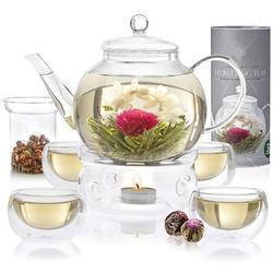JGZ Complete Tea Set – Stovetop Safe Glass Teapot w/ 4 Double-Wall Glass Teacups, Tea Warmer, Removable Loose Tea Glass Infuser & 12 Flowering Teas
