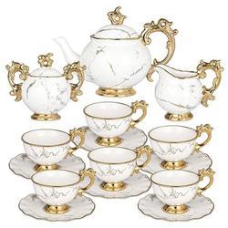 JGZ Tea Set Porcelain - Tea Sets For Women Adults 15 Pieces - Tea Cup & Saucer Set For 6 w/ Creamer & Sugar Bowl - Vintage English Tea Sets w/ Tea