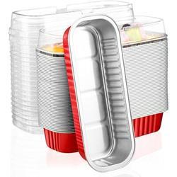 honer Aluminum Foil Bread Pans, 50Pcs 6.8Oz Disposable Aluminum Foil Mini Loaf Baking Pans w/ Lids,Small Bread Tins, Aluminum Baking Cups Ramekins