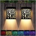 LAKEKYD Wall Lights Outdoor Solar Fence Lights For Deck Patio Front Door Yard Stairs Led Forest Lamps Decorative Lighting, Waterproof in Black
