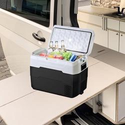 shandongjuhe 1.4 Cubic Feet Car Fridge Portable Freezer Cooler,Travel Refrigerator w/ 12/24V Dc in Black/White, Size 18.5 H x 25.6 W x 14.2 D in