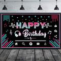SCHCJI Happy Birthday Party Backdrop Large Fabric Music Party Background Photo Booth Banner Photography Party Decoration Supplies For Teens Social Media Them
