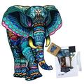 Polar Wooden Jigsaw Puzzles, Unique Animal Shape Pieces, Set w/ Kits For Decoration, 8.3X10.6 In, 163 Pcs, Best Gift For Adults & (6 Yrs+) (Elephan