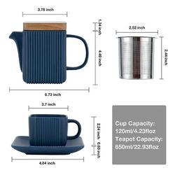 Latitude Run® Ceramic Teapot Set Of 9, 23-Oz Teapot w/ Infuser & Tea Cup Set, Anti-Slip Design Tea Sets For Adults, Tea Cups & Saucers Set Of 4