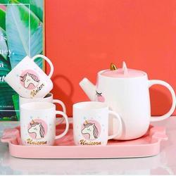 Zoomie Kids Unicorn Tea Set, Ceramic Teapot Set For Girls' Afternoon Tea Party, Cute & Sweet Porcelain Tea Gift Set For Women Or Girls, 1 Tea Pot