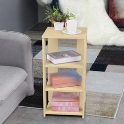 Ebern Designs Sofa Coffee Table Bedside Table Nightstand, Large Capacity Narrow Side Table 4-Tier Storage Shelves Night Stand Bedroom End Table Wood