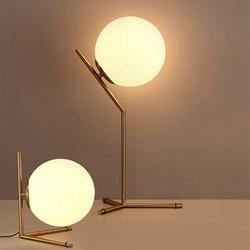 "Mercer41 Bairo 9.84"" Gold Desk Table Lamp Set Glass/Metal in White/Yellow, Size 9.84 H x 8.43 W x 8.43 D in | Wayfair"