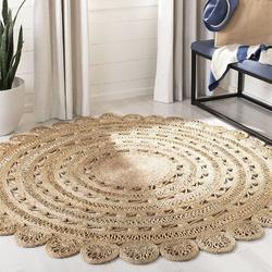 Bay Isle Home™ Natural Fiber Round Collection Handmade Boho Charm Braided Jute Area Rug Jute & Sisal in White, Size 84.0 W x 0.1 D in | Wayfair