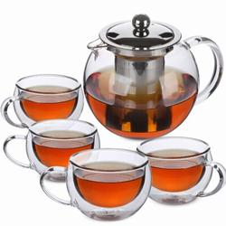 Brayden Studio® Tea Pot, Tea Set, Set Of 4, Tea Cups, Glass Teapot, Glass Tea Cup, Tea Kettles Stovetop, Tea Set For Adults, Glass Tea Kettle