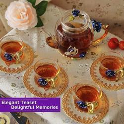 Rosdorf Park Pretty Glass Tea Sets For Women, Coffee Espresso Shot Tea Cups Of 4, Small Flower Teapot & Cup Set, Clear Tea Kettle | Wayfair