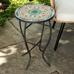 Bungalow Rose Francesa Ceramic Accent stool Ceramic in Blue/Green/Yellow, Size 21.5 H x 14.0 W x 14.0 D in   Wayfair