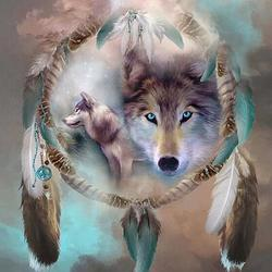 Trinx 5D Diamond Painting By Number Kit DIY Full Round Drill Dreamcatcher Wolf Rhinestone Picture Craft Arts Home Wall Decor 19.7X19.7In Canvas