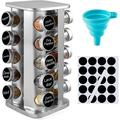 Prep & Savour Spice Rack Organizer For Cabinet - Stainless Steel Seasoning Organizer For Kitchen w/ Reuseable Labels & Funnel, 20 Jars (Square)