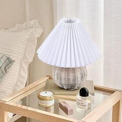 Bay Isle Home™ Vintage Rattan Table Lamp Table Living Room Bedroom Bedside Pleated Desk Lamp Fashionable Desk Lamp Without Bulb Rattan/Fabric