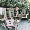 Dakota Fields Hammock Swing Chair Hand-Woven Is Perfect For Bedroom Courtyard Garden in Black/White, Size 43.3 H x 31.75 W in | Wayfair