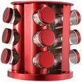 Prep & Savour Revolving Spice Rack, 20-Jar Spice Organizer, Countertop Spice Rack Tower, Stainless Steel, For Kitchen Cabinet Organizer in Red