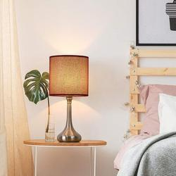 Alcott Hill® Nightstand Table Desk Lamps Set Of 2, Vintage Bedside Metal Body Lamp w/ Fabric Shade For Living Room, Kid's Room, Bedroom, Office