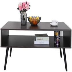 "Corrigan Studio® 43.2"" Mid-Century Modern Coffee Table w/ Storage Shelf For Living Room, Accrington Cocktail Table, Tv Table, Rectangular Sofa Table"